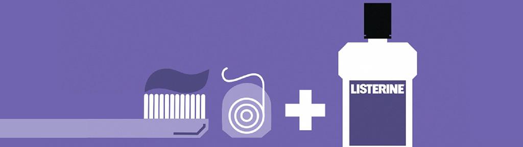 icônes d'un flacon de rince-bouche Listerine, d'une brosse à dents et d'un fil dentaire