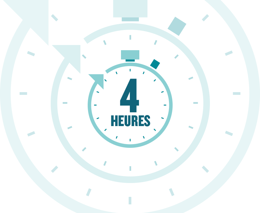 Icône montrant quatre heures restant à l'horloge