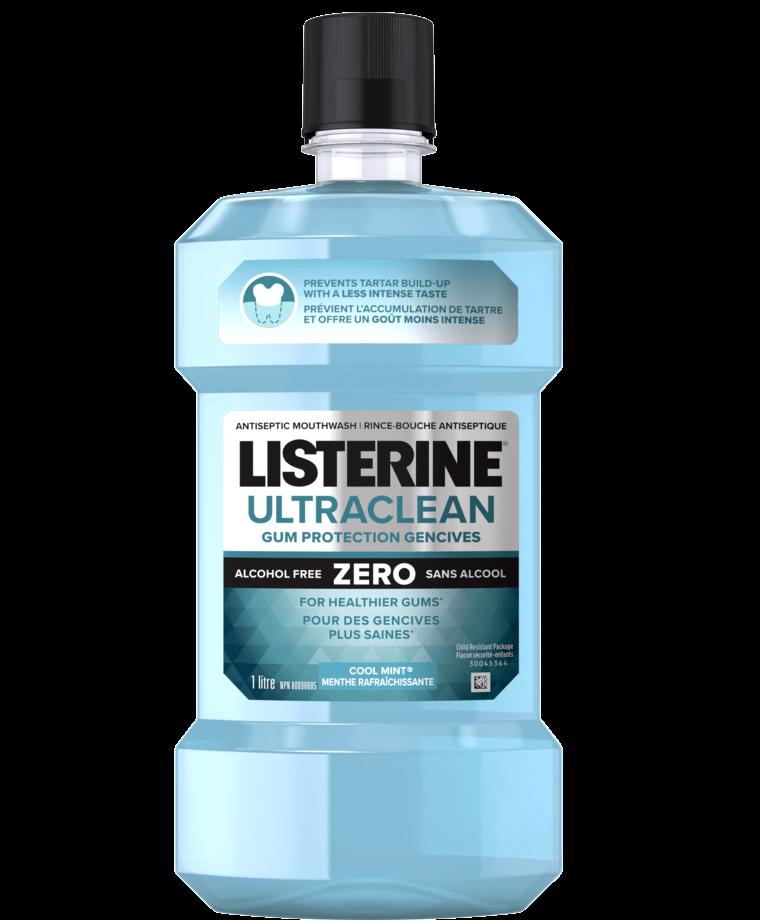 Flacon de rince-bouche Listerine qui réduit la plaque et protège les gencives