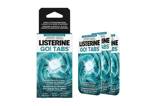 Emballage de Listerine Go! Tabs pour avoir bonne haleine partout
