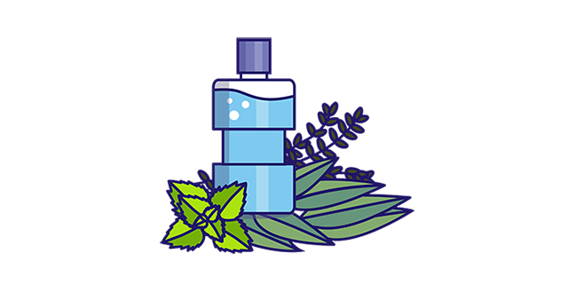 Mouthwash icon with eucalyptol, thymol, menthol